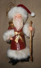 Santa Claus w/Walking Stick Christmas Holiday Ornament - Very Good