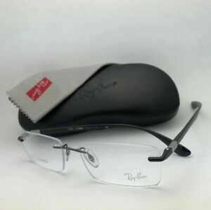 New RAY-BAN LITEFORCE Eyeglasses RB 8724 1000 56-17 145 Rimless Gunmetal Frames