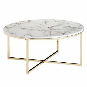 WOHNLING Couchtisch Marmor Optik Weiß Ø 80 cm Wohnzimmertisch Rund Tisch Metall