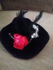 Women's Gothic Black Mini Top Hat With skulls and rose