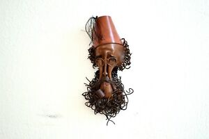 vintage leather FACE Wall ART, man mask with glasses, hat beard and tobacco pipe