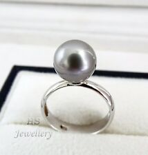 HS 10.4mm Silver Pink Tahitian South Sea Cultured Pearl Ring 925 Sterling Silver