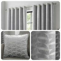 Curtina KENDAL Silver Geometric Jacquard Eyelet Curtains & Cushions