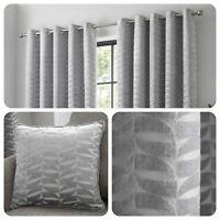 Curtina KENDAL Silver Geometric Jacquard Eyelet Curtains & Cushions