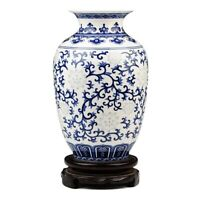 Rice-pattern Ceramic Vase Porcelain White and Blue Chinese Antique Reproduction