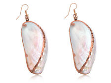Golden Metal Seashell Half Shells Ocean Inspo Design Fashion Drop Earrings Gift