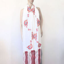 "Janavi  70% Cashmere 30% Silk Ivory Hand Embroidered Scarf, Wrap, Shawl 98"" Long"