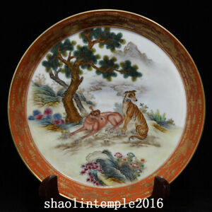 """7.6"""" Exquisite old  China  the Qing dynasty  Pastel  Dog picture  Brush wash"""