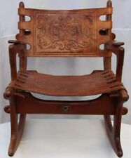 Vintage Mid Century Modern Angel Pazmino Tooled Leather Rocking Chair