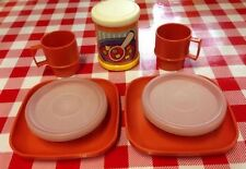 VTG Tupperware MINI Tuppertoy Pretend Play Food SOUP Bowls Plates Lid Cups Set