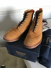 TRICKER'S BROGUE BOOTS GOLDEN TAN SUEDE - UK 8 1/2 - NOT GRENSON