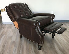 New Barcalounger Darcey Recliner Chair Genuine Edmond Chocolate All Leather