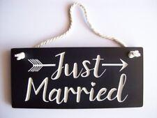 RUSTIC VINTAGE WOODEN WEDDING SIGN ENGRAVED ' JUST MARRIED'