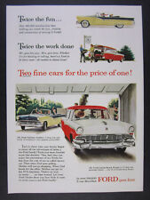 1956 Ford Fairlane Sunliner & Custom Ranch Wagon color art vintage print Ad