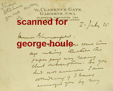 Edgar Wallace - Letter - 1925 - Autograph - King Kong - Chamber Of Horrors