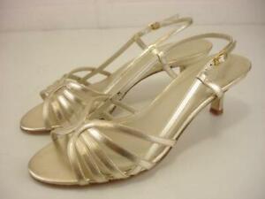 Women's sz 7 M Talbots Spain Slingback Sandals Platinum Silver Woven Heels Pumps