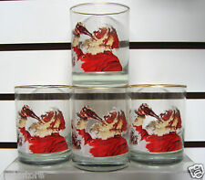 4 Vintage Coca-Cola Christmas Glasses Santa Claus Drinking a Coke!