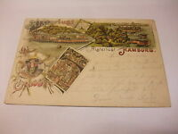 alte Litho Postkarte Ansichtskarte Karte Gruss aus Hamburg v. d. Alsterlust 1898