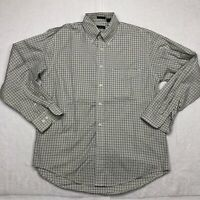 IZOD Button Up Shirt Adult Medium Green White Long Sleeve Cotton Casual Mens*