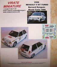 V205 Renault 5 GT Turbo Rallye Monte 1987 Francois Chauché Calcomanías Virate