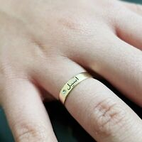 Customize Islam Name Engagement Engraved Ring Farsi Jewelry calligraphy Gift