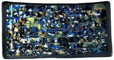 "Mosaic Glass Tray, One of a Kind - Lapis Theme - 8"" X 4"""