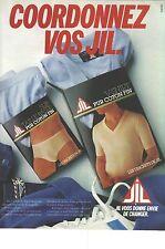 PUBLICITE ADVERTISING 1981  JILL  slip t shirts caleçons à coordonner