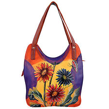 Genuine Leather Shoulder Bag Hand Painted Multi Color Flowers Shopper Tote
