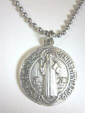 "Catholic Italian St Benedict Medal Pendant Necklace 24"" Ball Chain + BONUS BOOK"