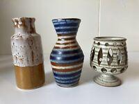 Set Of 3 Vintage Handmade 70s Studio Pottery Vases Vase OOAK