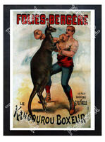 Historic Folies-Bergere The Boxing Kangaroo, 19th century Advertising Postcard