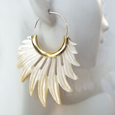 Feathers Carved Shell .925 Sterling Silver Hook Earrings Boho Jewelry Wholesale