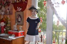 robe cyrillus 6 ans bleu marine blanc tres elegeante