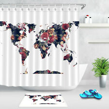 Creative Floral World Map White Background Waterproof Fabric Shower Curtain Set