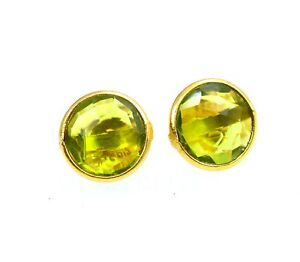 925 SOLID STERLING SILVER 24CT GOLD OVERLAY CUT GREEN PERIDOT STUD EARRING E538