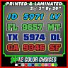 """Boat Registration Number Lettering Decals Sticker Vinyl Vessel PWC 2 Sets 3""""x20"""""""