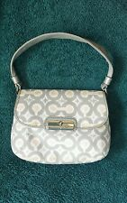 Coach Gray/Silver/Pink Ikat Op Art/Leather Kristin Shoulder Bag Purse #45376