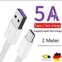 2x 5A Typ-C Ladekabel 2m USB-C Datenkabel kompatibel mit Samsung, Xiaomi&Huawei
