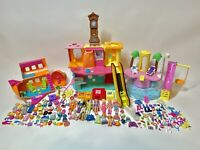 HUGE Polly Pocket Lot Dolls Rubber Clothes Accessories Mall Pool Airplane Slide