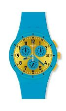 SWATCH CHRONOGRAPH DATE GOLD DIAL BLUE SILICONE STRAP WOMEN'S WATCH SUSS400 NEW