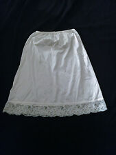 White Half Slip A-line Floral Lace  White Bow  S/M*  NWOT   FREE  SHIPPING