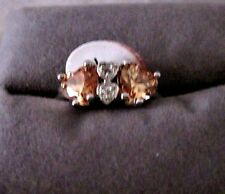 ALL HEARTS LOVELY MORGANITE HEARTS WITH SIMULATED DIAMONDS I STERLING SILVER