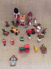 Vtg 80's Wooden Christmas Ornaments Collection Of 24
