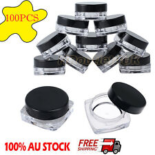 100pcs Sample Bottle Cosmetic Makeup Jar Pot Lip Balm Face Cream Container 3g AU