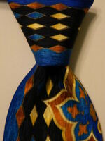 VITALIANO PANCALDI Men's Silk Necktie ITALY Luxury Geometric Blue/Yellow PERFECT