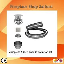"Complete 8 metre chimney liner install kit 5"" 125mm for wood burning stoves"