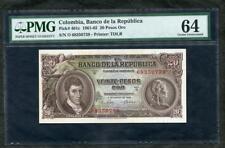 *1965 COLUMBIA BANCO DE LA REPUBLICA 20 PESOS ORO PICK #401c PMG 64 EPQ  LQQK!!!