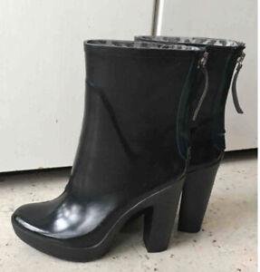 Zara 12 cm High Heel Rubber Boots Gr. 37 Gummistiefel