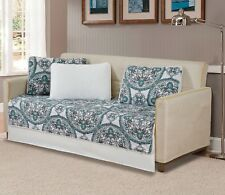 Fancy Linen 5pc Quilted Day Bed Cover Floral White Green Black New