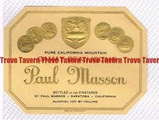 Unused 1940s CALIFORNIA Saratoga PAUL MASSON GAMAY BEAUJOLAIS Wine Label